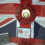 Window display at Adams funeral directors