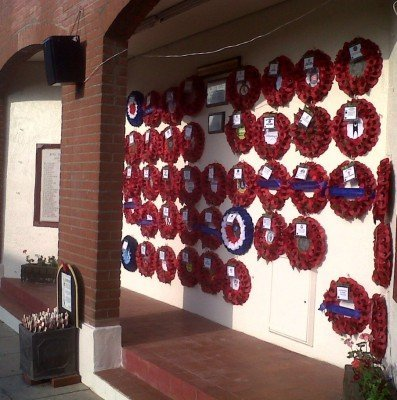Wreaths outside British Legion