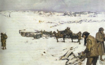Mametz, Western Front: men, animals and supplies in snow covered valley (oil-on-canvas, 76.2 cm x 127.6 cm, 1919) by Frank Crozier (1883–1948), Australian official war artist.