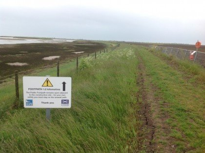 There are signs warning you to keep to the sea wall - don't wander off into the construction area!