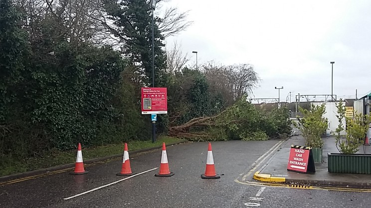 There's a tree down at the entrance to the Rayleigh Station car park as well.