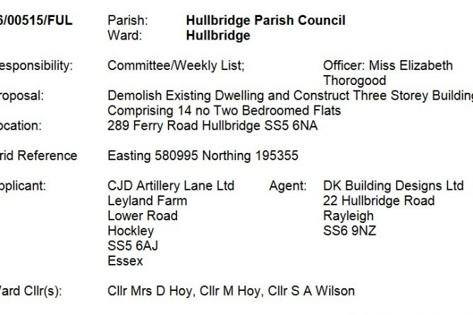 hullbridge planning application